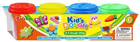 4 KidsDough värvilised voolimisvahad 4x50gr.