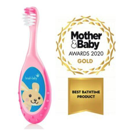 Brush Baby FlossBrush näritava otsaga hambahari vanusele 0-3 eluaastat – roosa