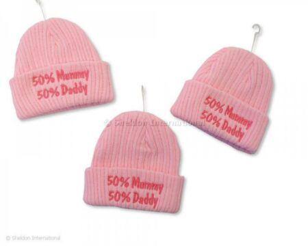 """Beebi müts kootud """"50%Mummy 50%Daddy"""" roosa 0-3 kuud / SnuggleBaby"""