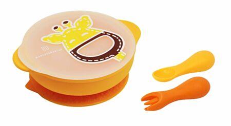 Väikelapse silikoonist nõudekomplekt - Lola/kollane