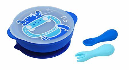 Väikelapse silikoonist nõudekomplekt - Lucas/sinine